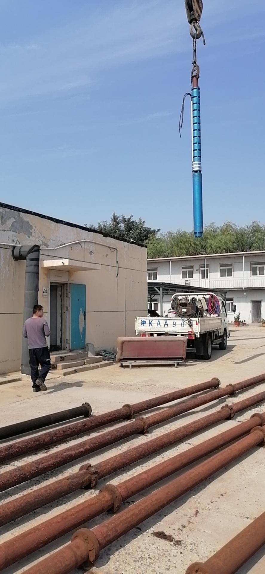 250QJR耐高温热水泵天津塘沽下井进行时~第3张-潜水电机-潜水电泵-高压潜水电机-天津潜成泵业